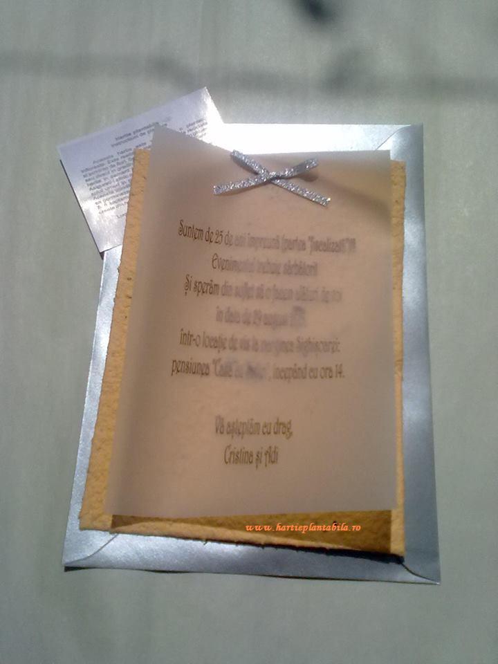 Invitatie Nunta Argint Hartie Plantabila