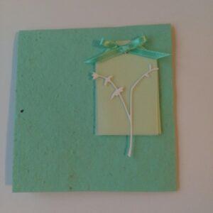 Felicitare verde menta cu floare